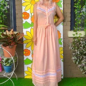 Vintage 70s sheer pink maxi dress nightgown L/XL